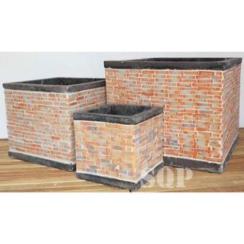 Square Cylinder Mosaic Cement Pot