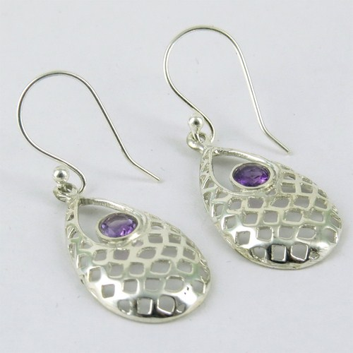 Modern Shimmering Amethyst Gemstone Pear Shape 925 Sterling Silver Earring, 925 Silver Jewellery, Beautiful Silver Jewelry
