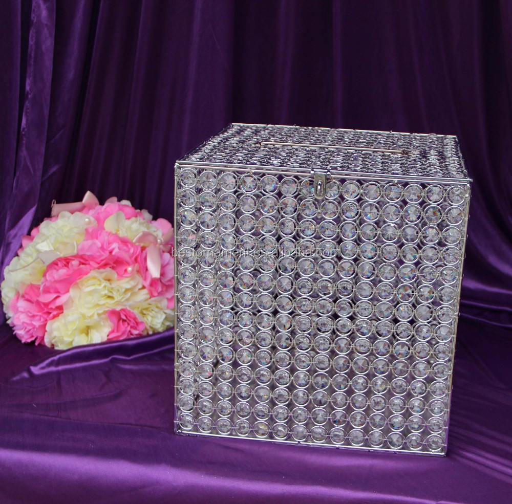 Large crystal beaded money box square wedding decorative for How to decorate a money box