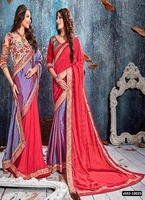 Indian Model Reversible Georgette Jacquard Pink Coloured Embroidered Designer Sarees