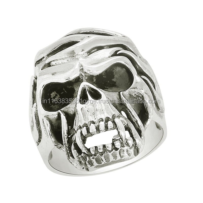 Sugar Skull Biker Ring, 925 Sterling Silver Biker Ring, Fashion Silver Biker Ring