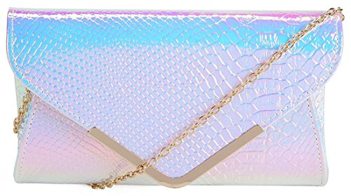 FactorytoShop (UK) Holographic Faux Snakeskin Envelope Clutch Bag With Kukubird Dust Bag - Silver