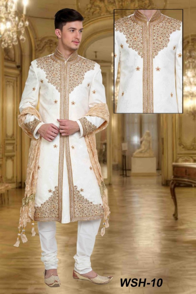 White Wedding Sherwani Designs for Men