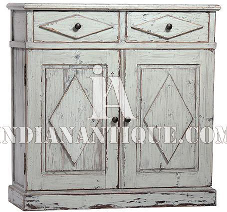 INDIAN SOLID WOODEN FURNITURE DISTRESSED FINISH HAND PAINTED CABINET FURNITURE FROM JODHPUR IA-DIS-171