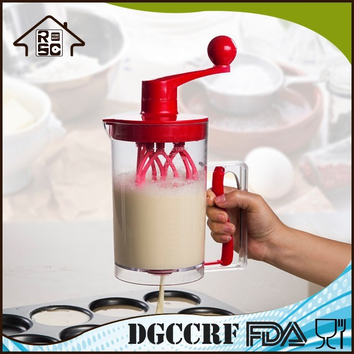 NBRSC Multifunction Portable Hand Held Cheap PLASTIC Kitchen Manual Cake Dough Mixer CUP for Baking