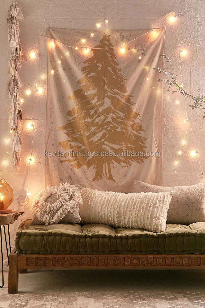 Custom Print Tapestry Kp655 Exclusive gold & silver foil tree christmas tree tapestry wall art wall hangings 84x54 Inches