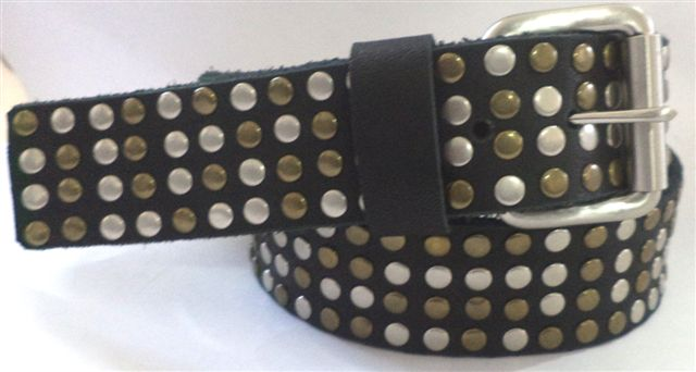 Leather Studded Mens Belt
