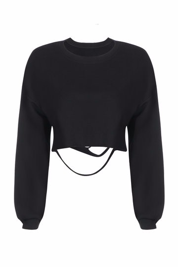 Custom black color Sweatshirt,Wholesale Crew neck Sweatshirt in black color for ladies