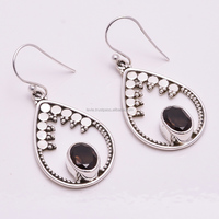 Solid 925 Sterling Silver Earrings Smoky