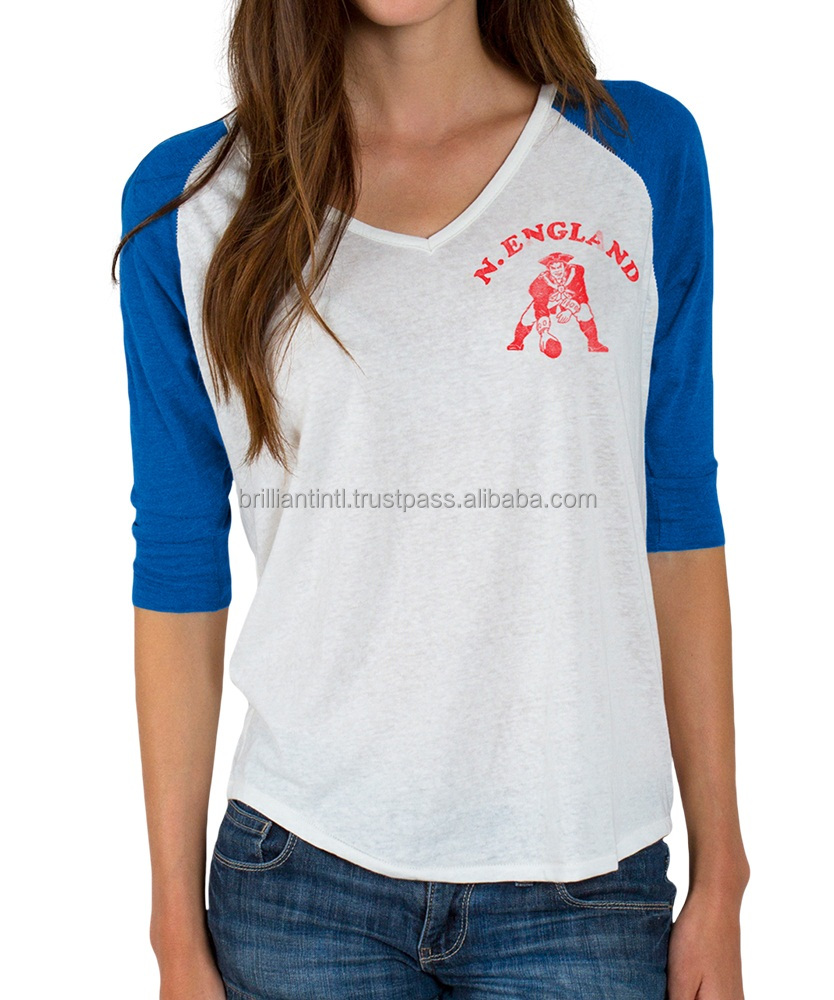 Hot selling women raglan shirt / cheap women raglan tshirt