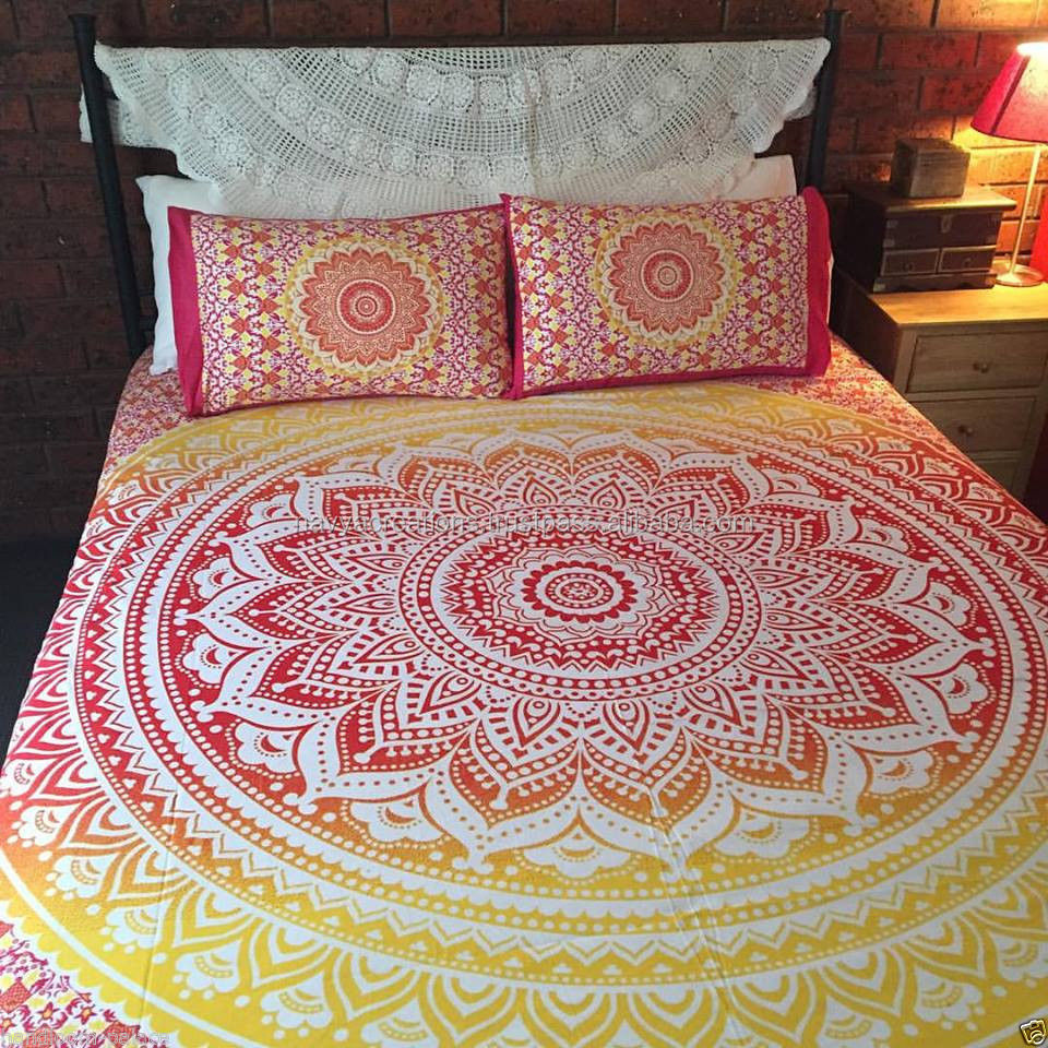 New Indian Mandala Print Bedding Pillow case Duvet Cover Set Double Size 82x92 Inch