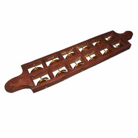Handmade Wooden Jhika - Indian Musical Percussion Instrument - 12 Brass Jingles