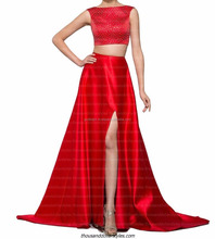 Gorgeous Women Evening Dresses New Style Red Two Pieces Beaded Satin Split Side Prom Dress
