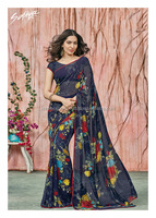 Praiseworthy Navy Blue Georgette Designer Saree/bridal saree blouses designs/wholesale saree