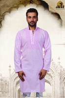 LUCKNOW CHIKAN LATEST MEN'S EMBROIDERED COTTON KURTA-A61121 BY ADA