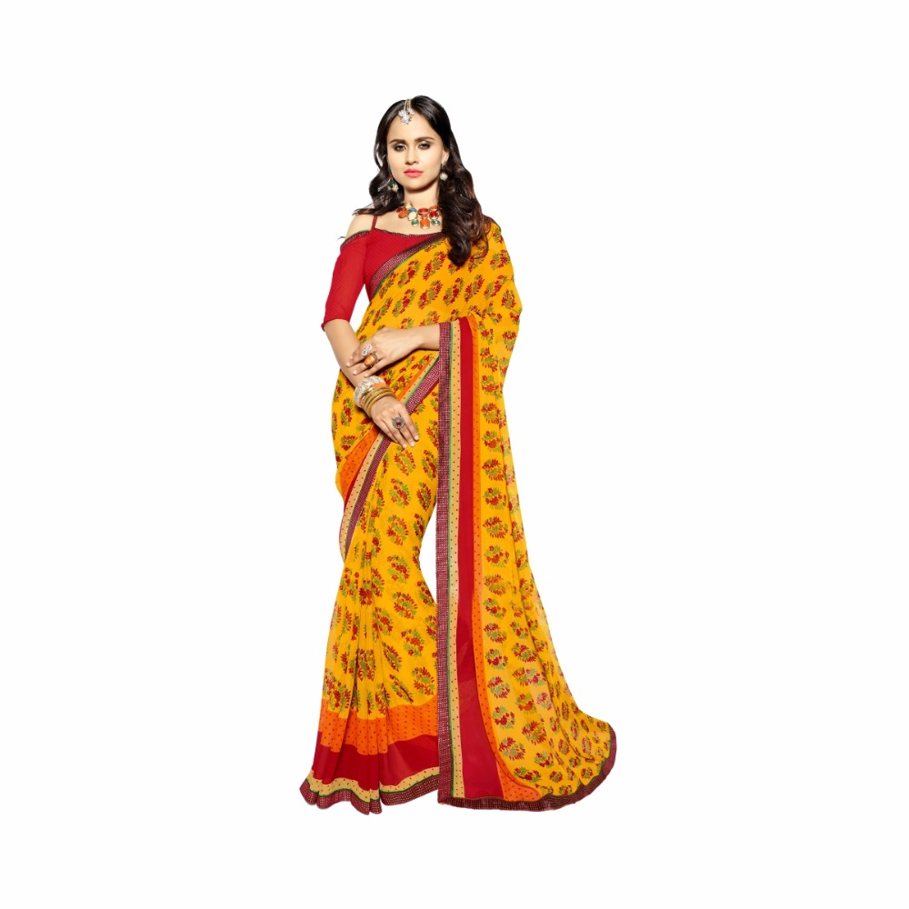 Pleasing Yellow Colored Printed Faux Georgette Saree 95020