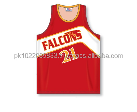 100% Polyester Custom Sublimated V-Neck Falcons Pro Cut Basketball Jersey / Shirt