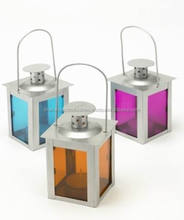 steel Decorative Hanging Lantern with Color Glass