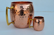 Moscow Mule Copper Mug by Solid Copper - Authentic Moscow Mule Mugs Unlined 16 oz with 2 Ounce Shot Glass