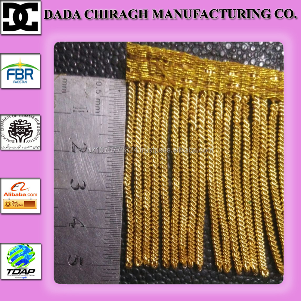 BULLION FRINGE TRIMS AND TASSEL FOR DECORATION GOLD BULLION WIRE FRINGE