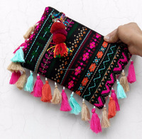 Colorful bohemian style handmade banjara zipper clutch bags with tassels