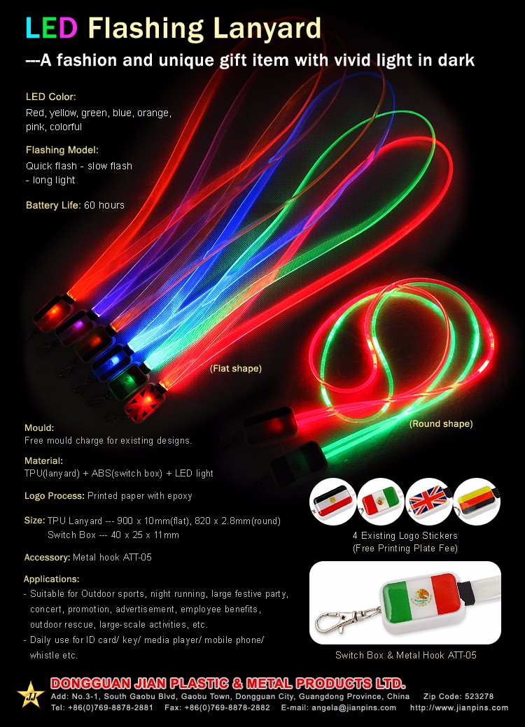 FLat Shape LED Flashing Lanyard / Glow In The Dark Lanyards