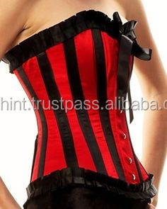 Black Boning and trims Red Satin Waist Training Steelboned Corset Supplier