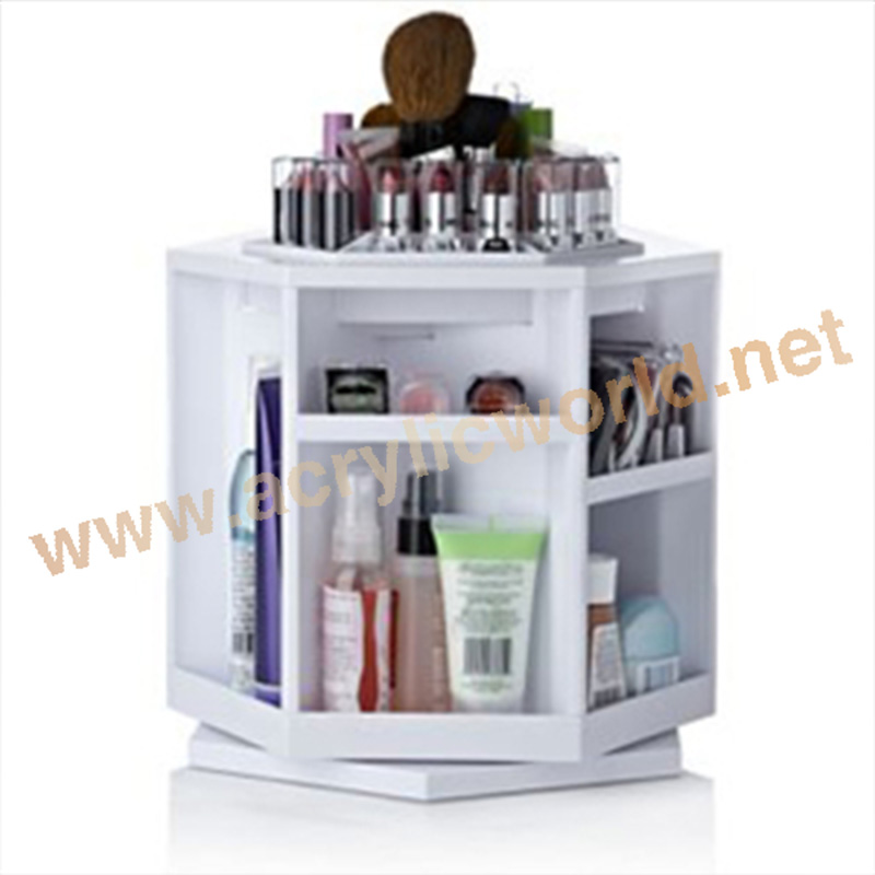 Rotates 360 degrees plastic Cosmetic Carousel Acrylic cosmetic display
