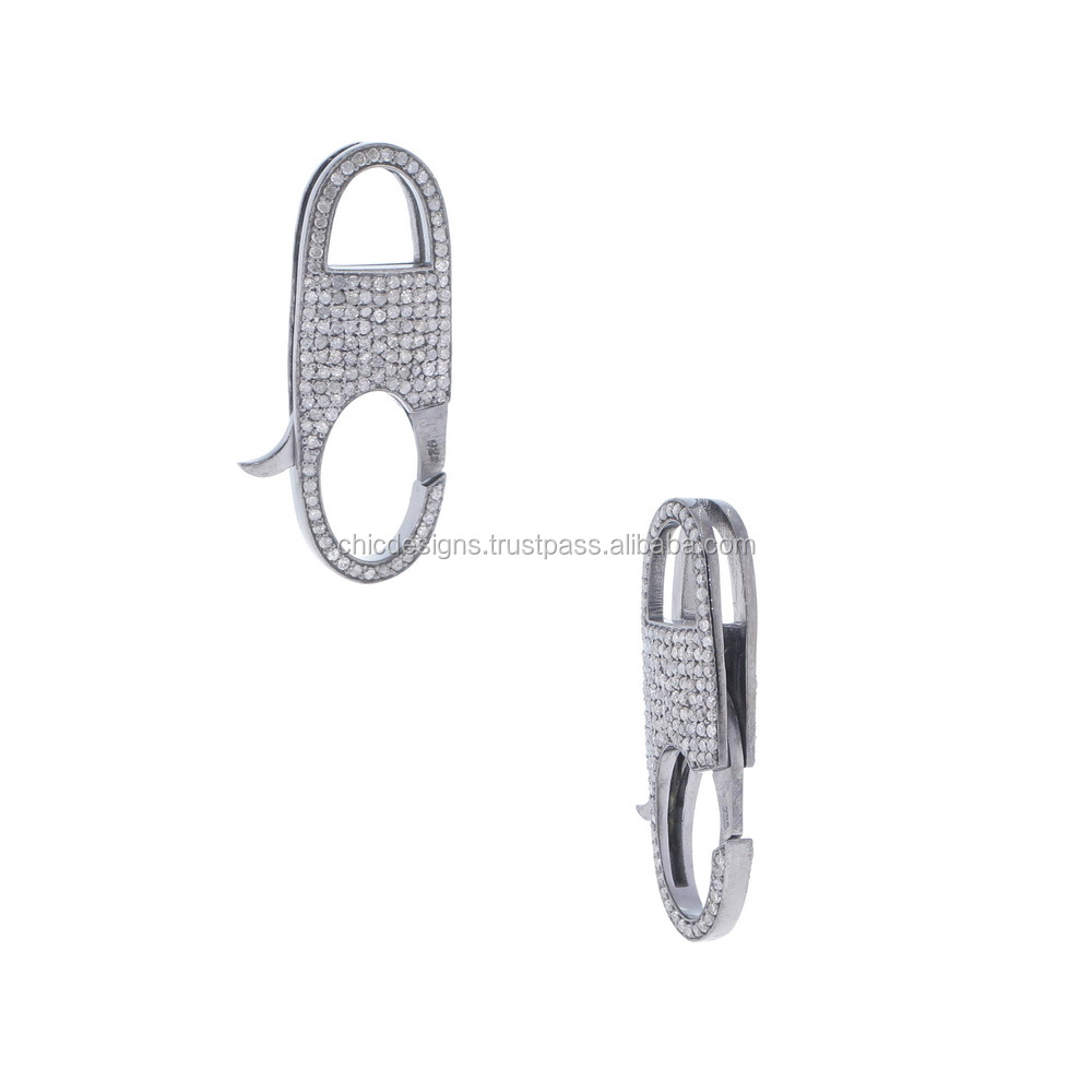 Lock Clasp For Bracelet Jewelry Pave Diamond Silver Findings