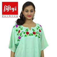 Superb Modern Rayon Short Kurta Embroidered Top Green Kurti Women Wear Tunic 2015