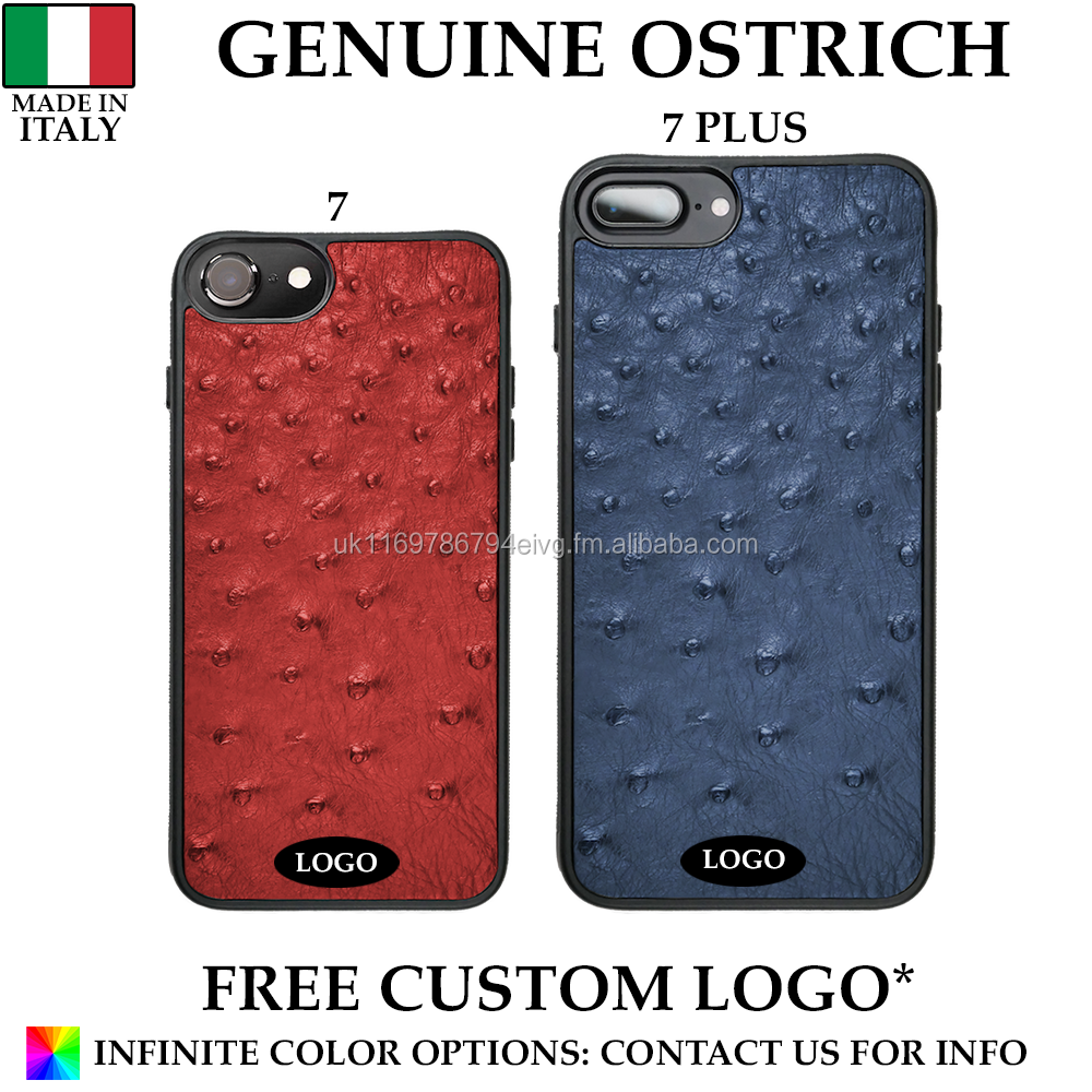 Genuine Italian Ostrich Leather Mobile Phone Case Made in Italy