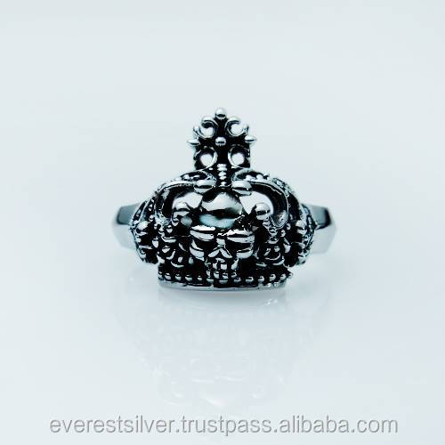 High quality sterling skull silver ring 925 thailand factory handmade product wholesale