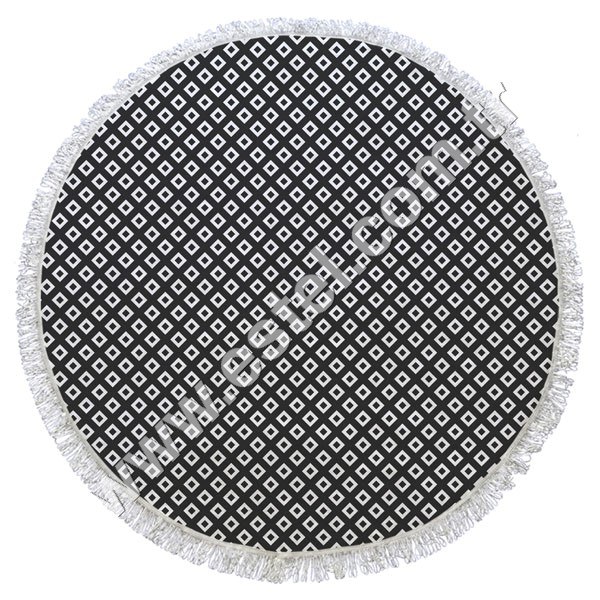 Black and White Popular 100 % Cotton Printed Round Beach Towel ( 23 )