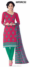 Pink and green colored salwar suits