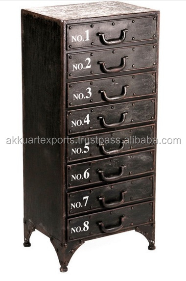 RETRO INDUSTRIAL METAL CABINET WITH 8 DRAWERS , DRESSER CABINET WITH DRAWERS