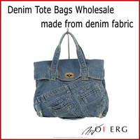 Japan Quality cute blue denim jeans handbags tote denim bag with fake leather