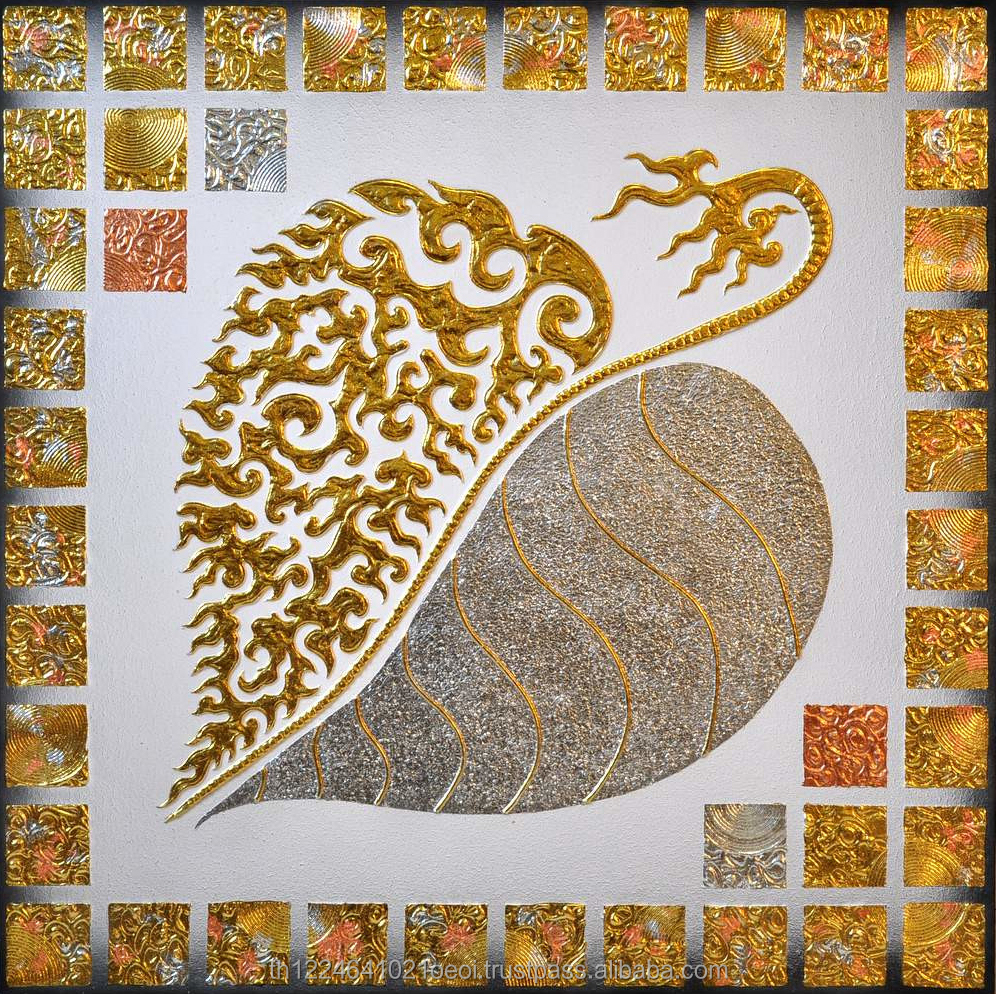Gold and Silver Asian Thai Handpainted Bodhi Leaf Painting with Acrylic on Canvas Wood Frame