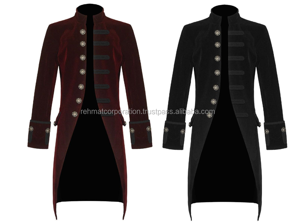 Devil Fashion Men's Handmade Jacket Red and Black Velvet Goth Steampunk Victorian Frock Coat