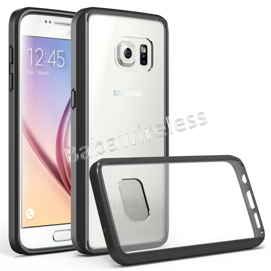 Transparent Crystal Clear Protective cover + Ultra-Slim Light-Weight Shock-Proof TPU Bumper For Galaxy S7