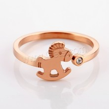 Titanium Steel Cuff Finger Ring horse equine horse rose gold color rhinestone ladies finger gold ring design