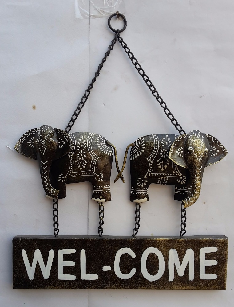 Iron Wooden Elephant Welcome Wall Decor