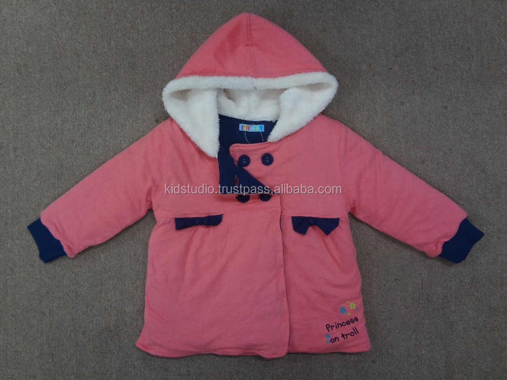 Kids Winter Jacket Long Sleeve Double Breasted Pink Jacket with Fur Lining in Hood