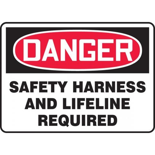 "Accuform MFPR107VP, 10"" x 14"" Plastic Sign: ""Safety Harness and Lifeline Required"""