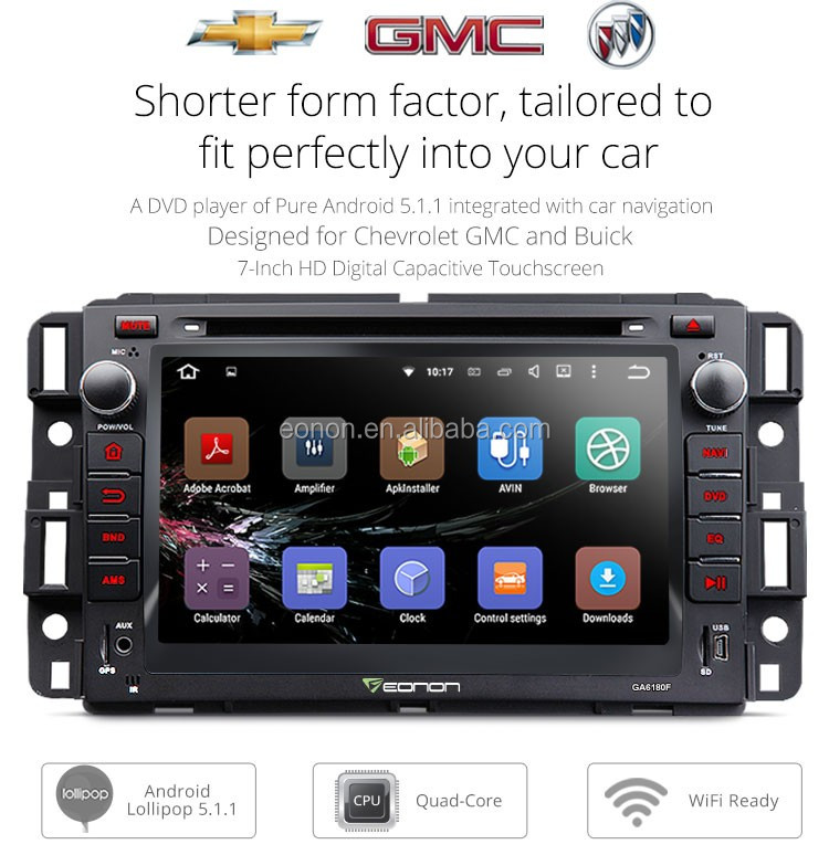 EONON GA6180F for Chevrolet, GMC & Buick Android 5.1.1 Lollipop 7 inch Multimedia Car DVD GPS with Mutual Control EasyConnection