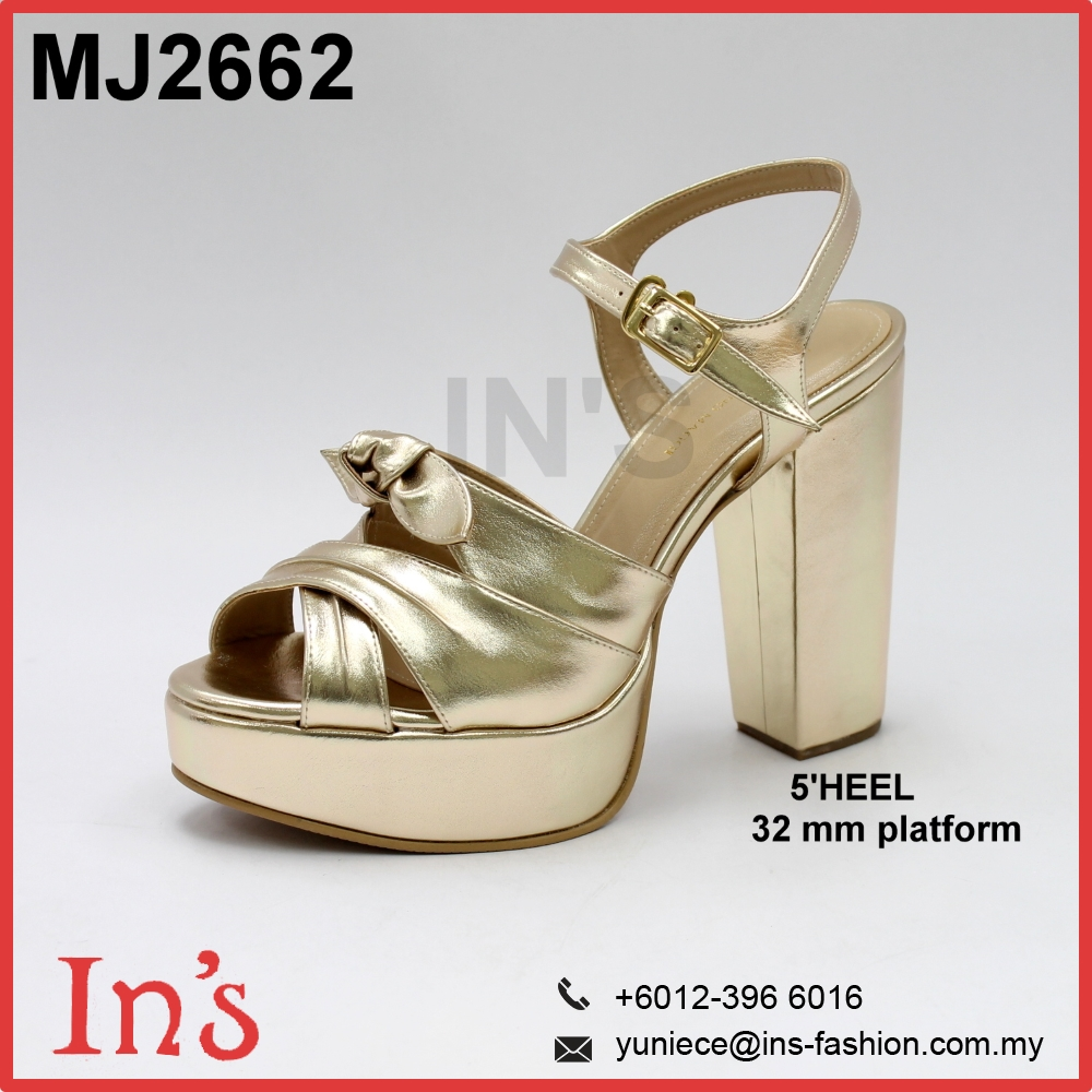 Gold Ladies High Chunky Heels Shoes with Platform Stripper Buckle from Malaysia