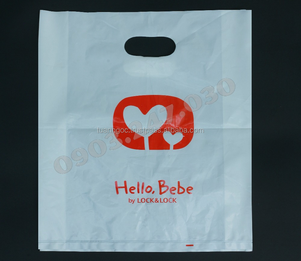 Plastic bag with die-cut handle for shopping/retailing/Cheap plastic bag from Vietnam from HDPE/LDPE/LLDPE