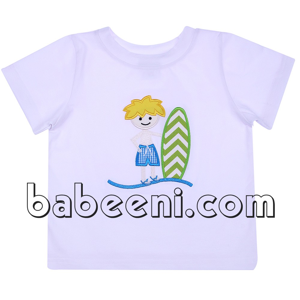 Cute appliqued airplane white boy T-shirt - BB1873