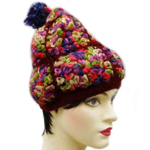 Wool Blend Multicolor Cap Winter Beanies Ski Hats Handmade Fashion Knitted Cap WCP5