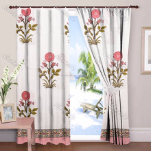 Floral Print Cotton Window Curtain Drapery Panel Door Valances