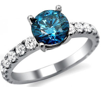 Real Natural 1.30Ct Solitaire Blue Diamond Ring in 14k White Gold at Wholesale Price